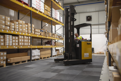 fork lift truck on floor shield protection boards